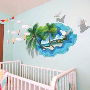 Стикер за стена, декорация за стая палмово дърво кокос