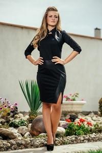 Черна рокля с ефект кожено болеро Avangard