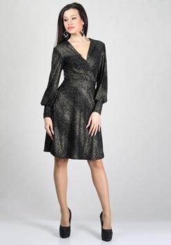 Официална рокля със златисти точки RUMENA